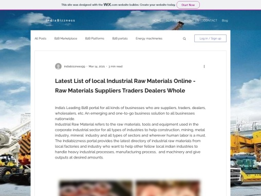 Buy Industrial Raw Materials – Raw Materials Suppliers Business Directory – IndiaBizzness Ecommerce