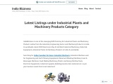 Business Listings Under Industrial Plants and Machinery Products Category – IndiaBizzness