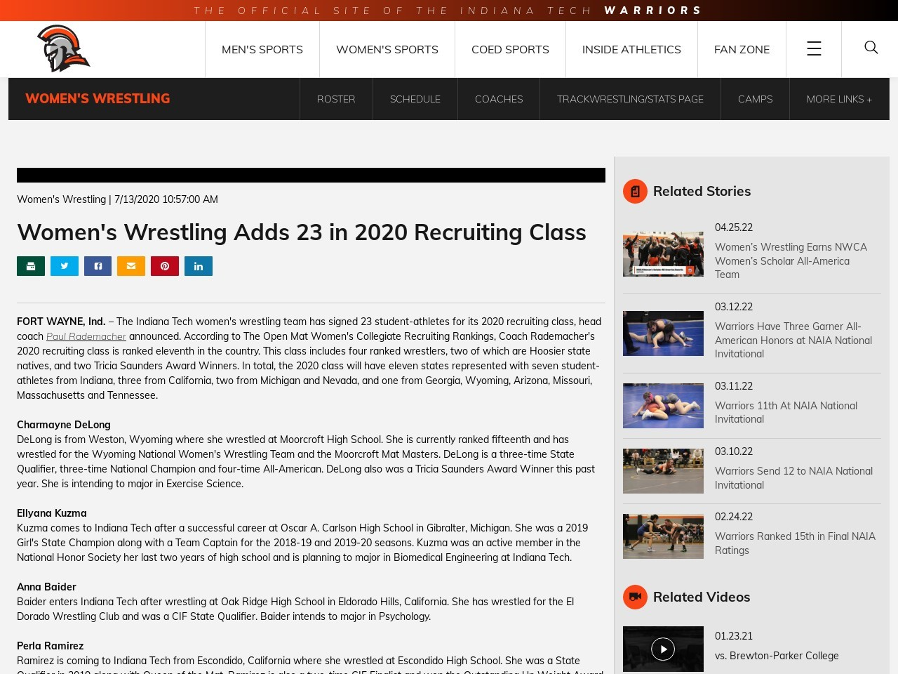 Women's Wrestling Adds 22 in 2020 Recruiting Class – Indiana Tech Athletics