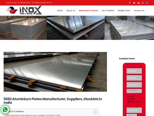 5052 Aluminium Plates Manufacturer in India
