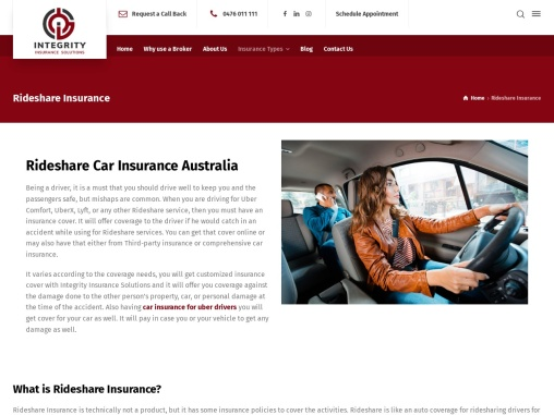 Rideshare Car Insurance Australia
