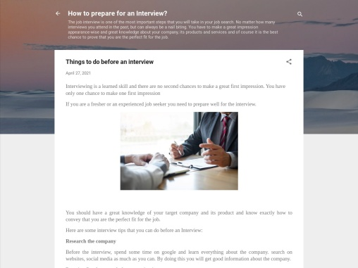 Things to do before an Interview