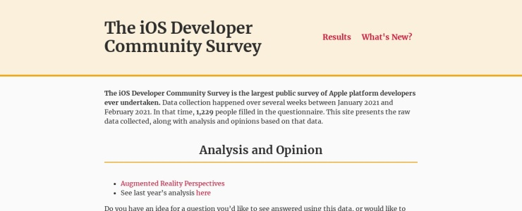 screenshot of iOS Developer Community Survey