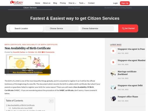 Non-Availability of Birth Certificate