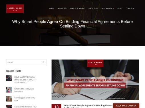 Why people agree on Binding Financial Agreements before settling down?