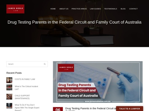 Drug Testing Parents in the Federal Circuit and Family Court of Australia