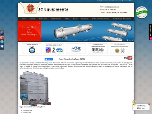 Closed Circuit Cooling Tower Manufacturers India