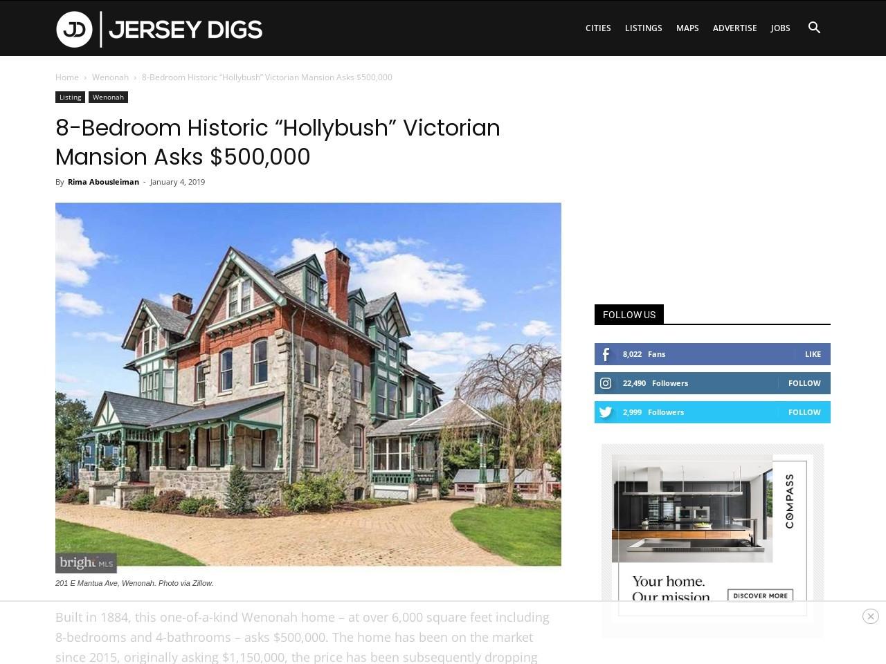 """8-Bedroom Historic """"Hollybush"""" Victorian Mansion Asks $500,000"""