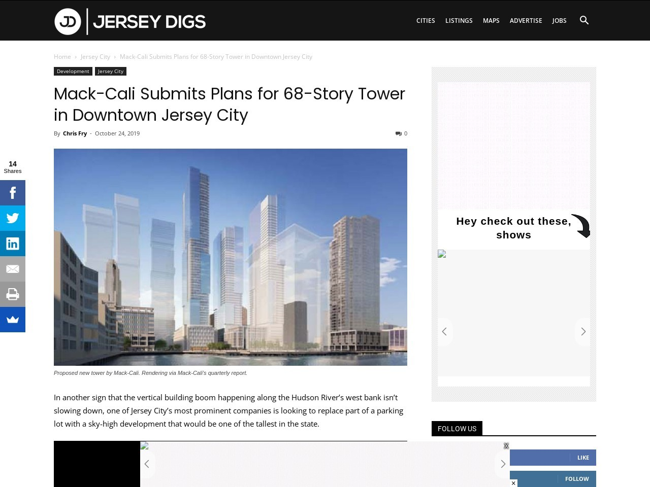 Mack-Cali Submits Plans for 68-Story Tower in Downtown Jersey City