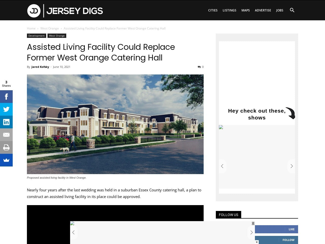 Assisted Living Facility Could Replace Former West Orange Catering Hall