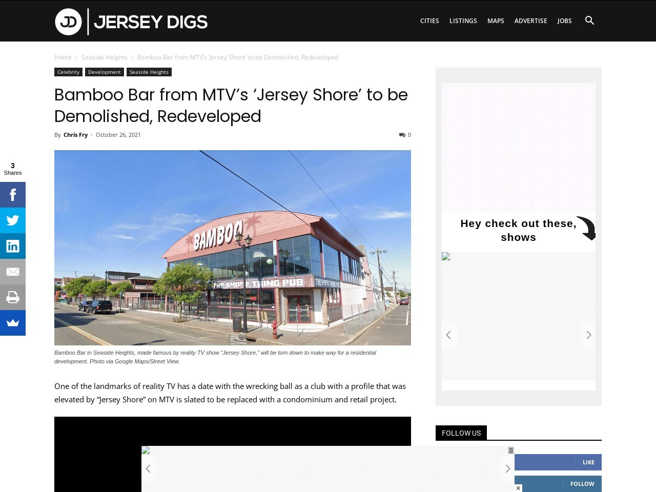 Bamboo Bar from MTV's 'Jersey Shore' to be Demolished, Redeveloped
