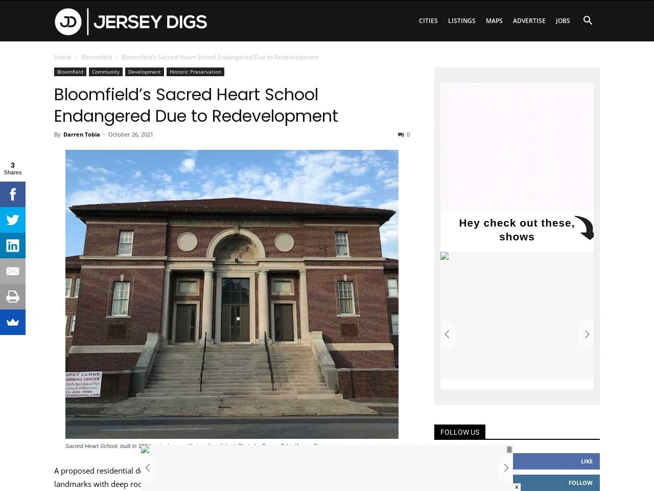 Bloomfield's Sacred Heart School Endangered Due to Redevelopment