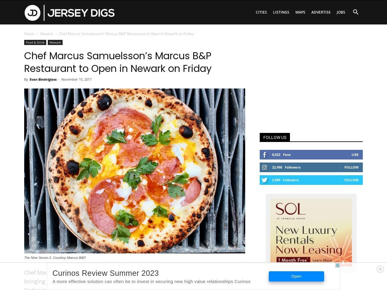 Chef Marcus Samuelsson's Marcus B&P Restaurant to Open in Newark on Friday