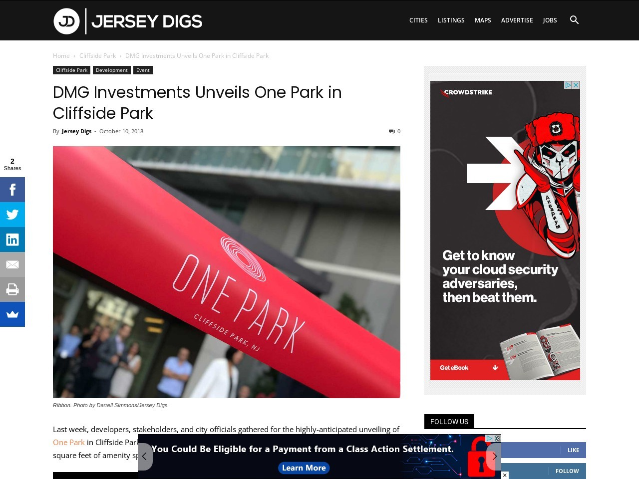 DMG Investments Unveils One Park in Cliffside Park
