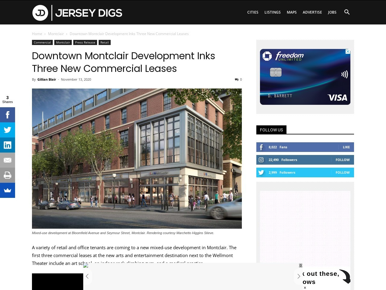 Downtown Montclair Development Inks Three New Commercial Leases
