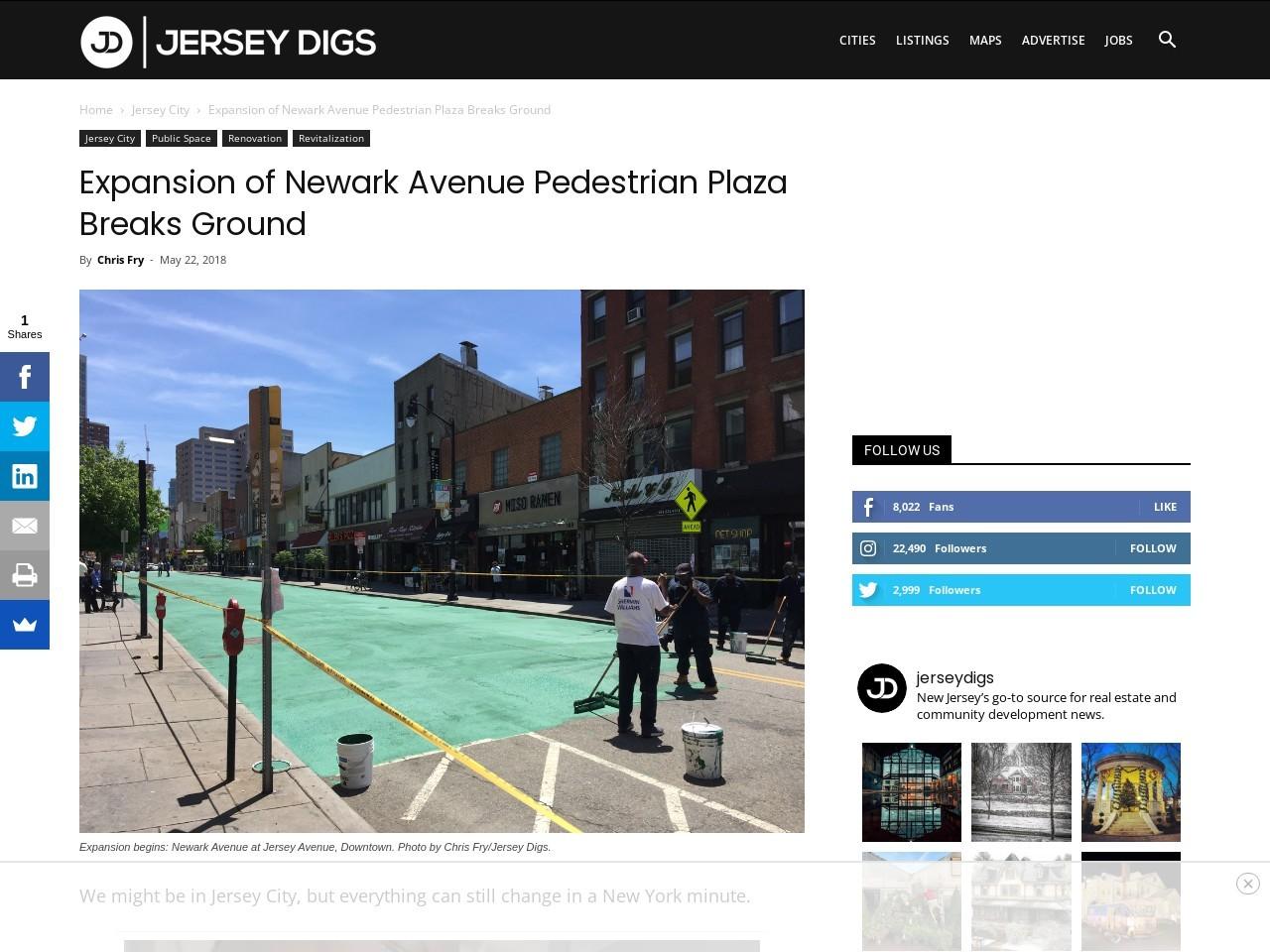 Expansion of Newark Avenue Pedestrian Plaza Breaks Ground
