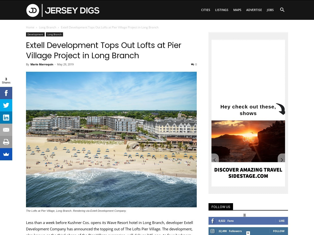 Extell Development Tops Out Lofts at Pier Village Project in Long Branch