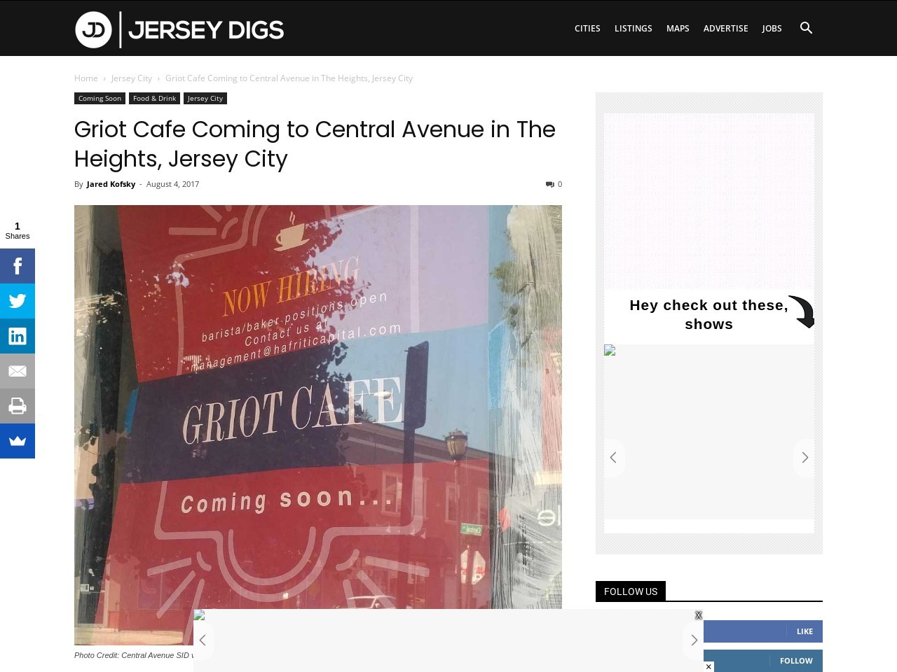 Griot Cafe Coming to Central Avenue in The Heights, Jersey City
