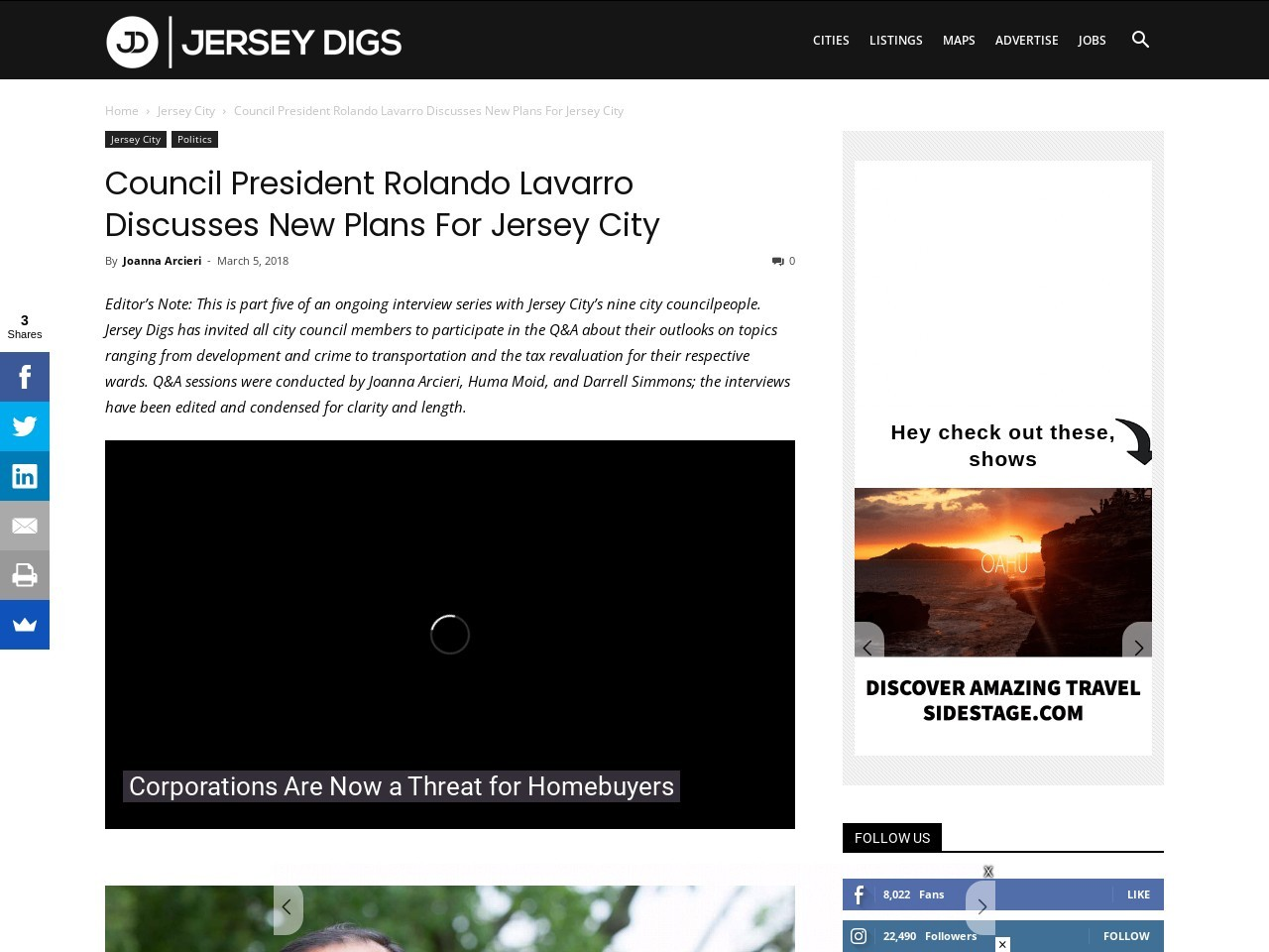Council President Rolando Lavarro Discusses New Plans For Jersey City