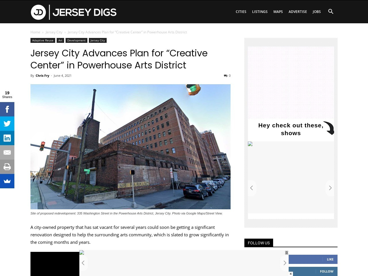 """Jersey City Advances Plan for """"Creative Center"""" in Powerhouse Arts District"""