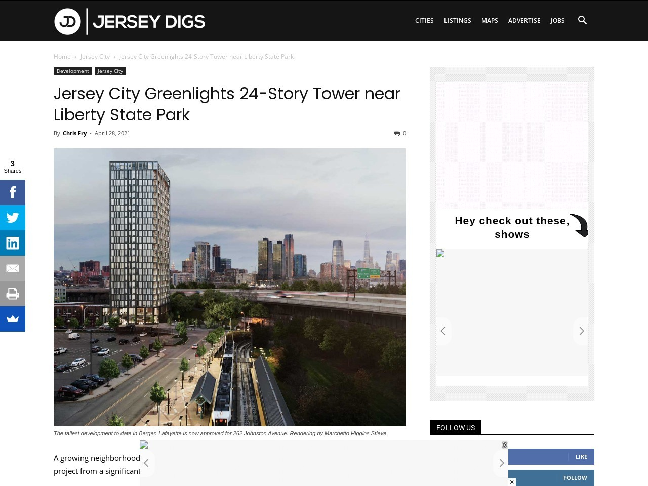 Jersey City Greenlights 24-Story Tower near Liberty State Park