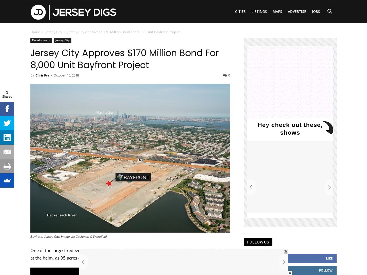 Jersey City Approves $170 Million Bond For 8,000 Unit Bayfront Project