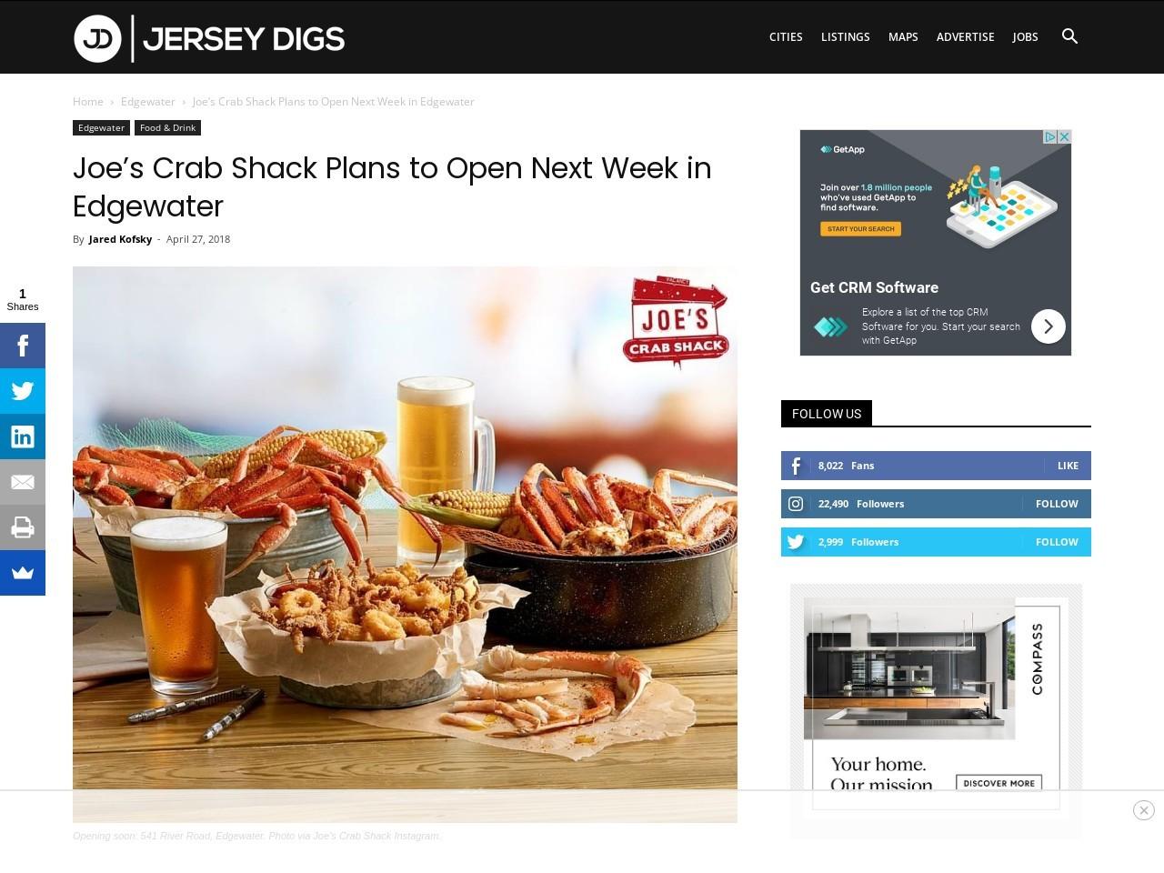 Joe's Crab Shack Plans to Open Next Week in Edgewater