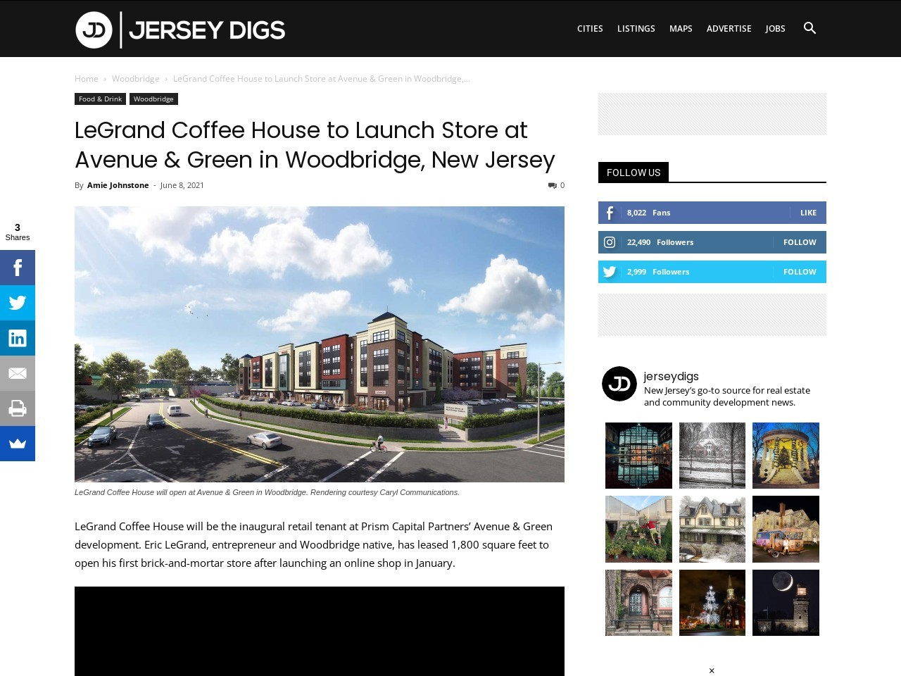 LeGrand Coffee House to Launch Store at Avenue & Green in Woodbridge, New Jersey