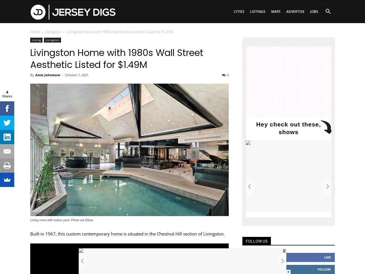 Livingston Home with 1980s Wall Street Aesthetic Listed for $1.49M