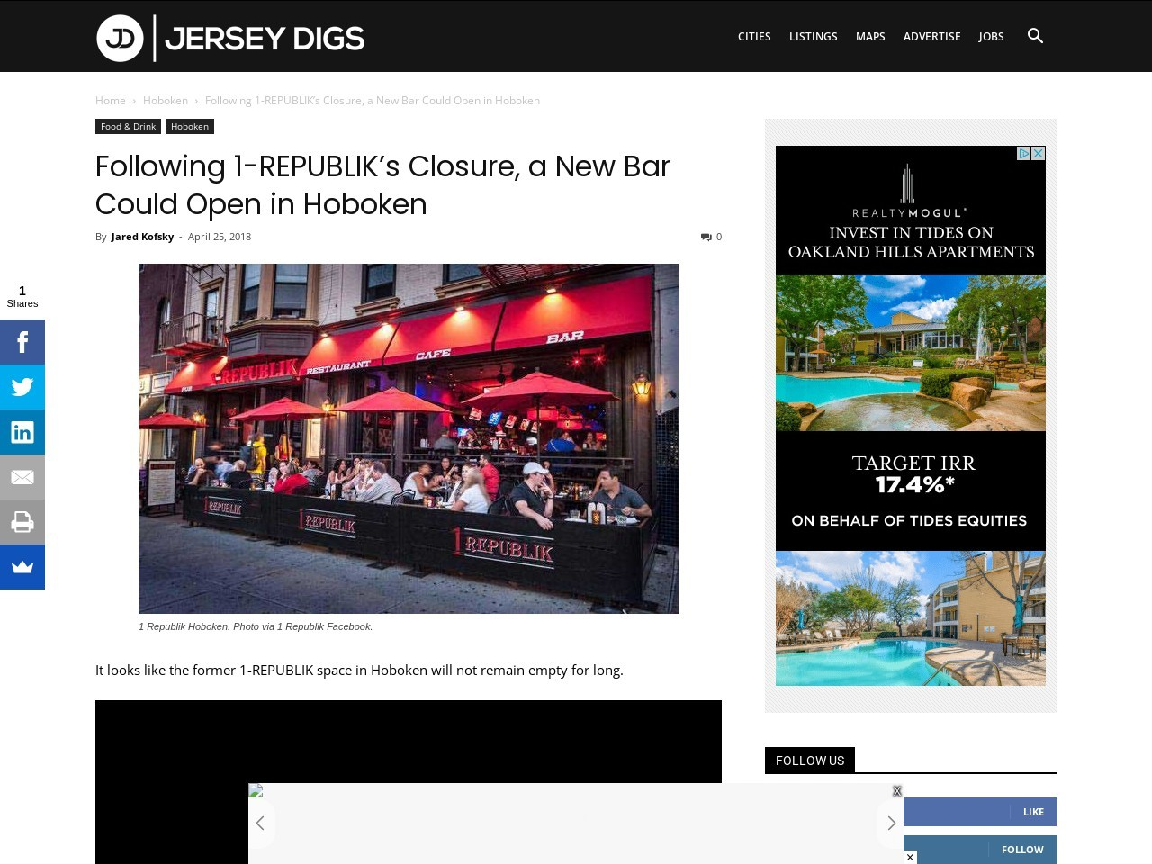 Following 1-REPUBLIK's Closure, a New Bar Could Open in Hoboken