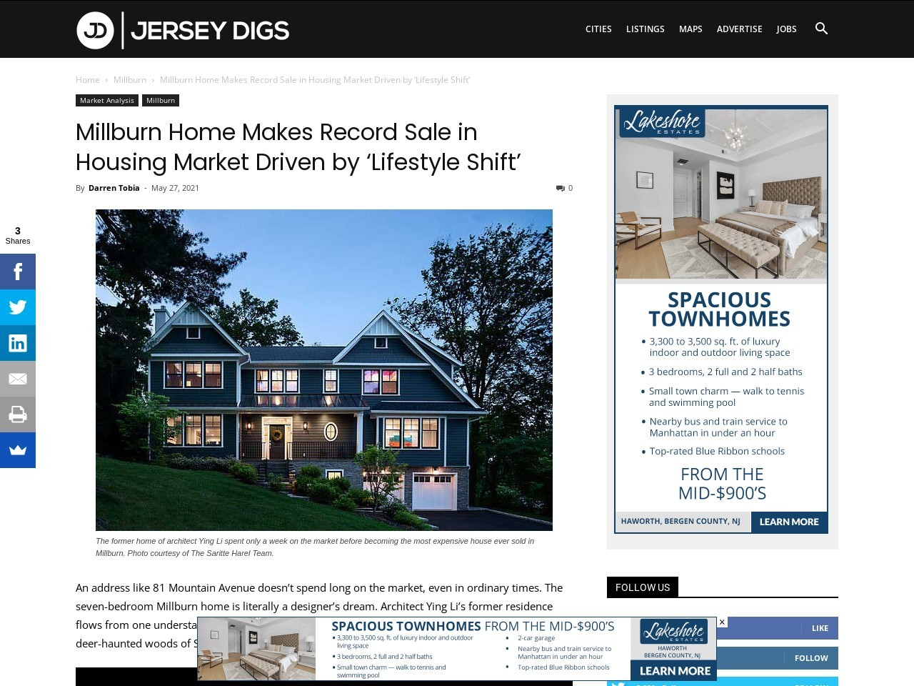 Millburn Home Makes Record Sale in Housing Market Driven by 'Lifestyle Shift'