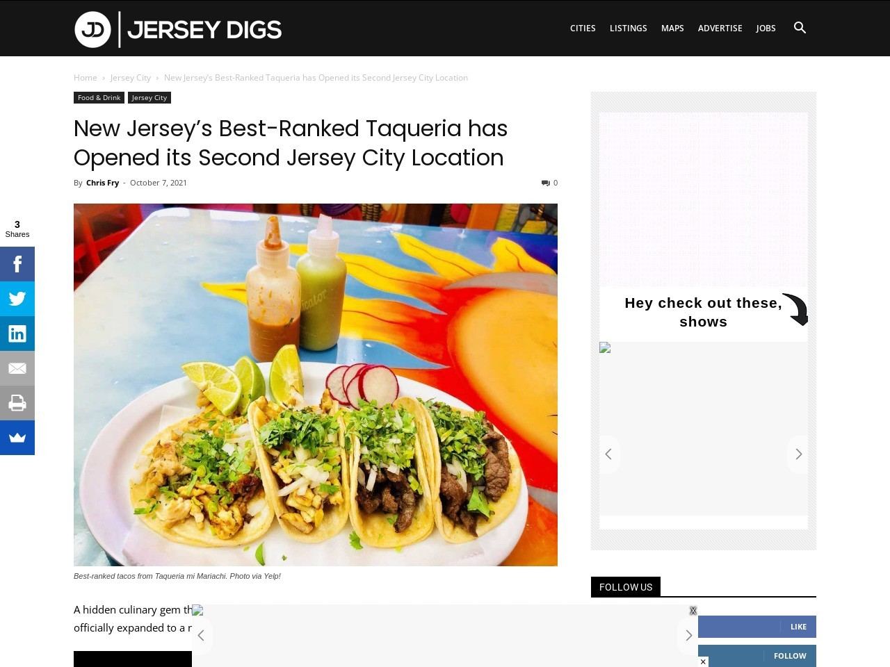 New Jersey's Best-Ranked Taqueria has Opened its Second Jersey City Location