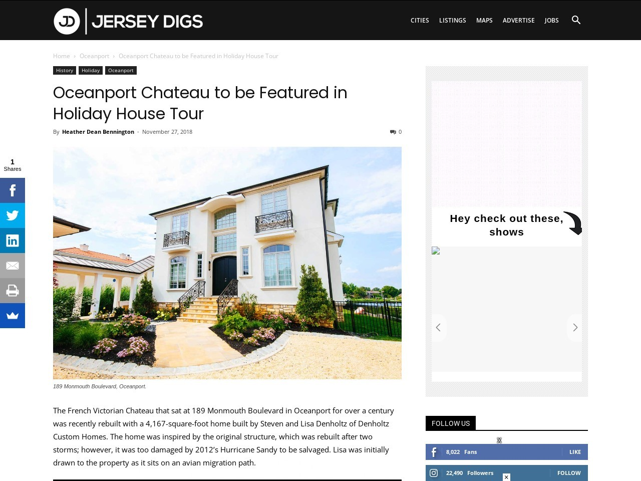 Oceanport Chateau to be Featured in Holiday House Tour