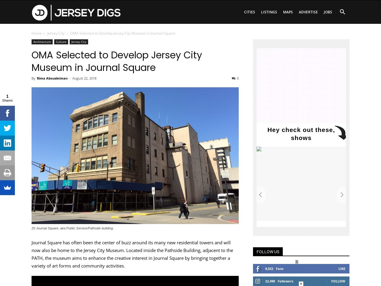OMA Selected to Develop Jersey City Museum in Journal Square