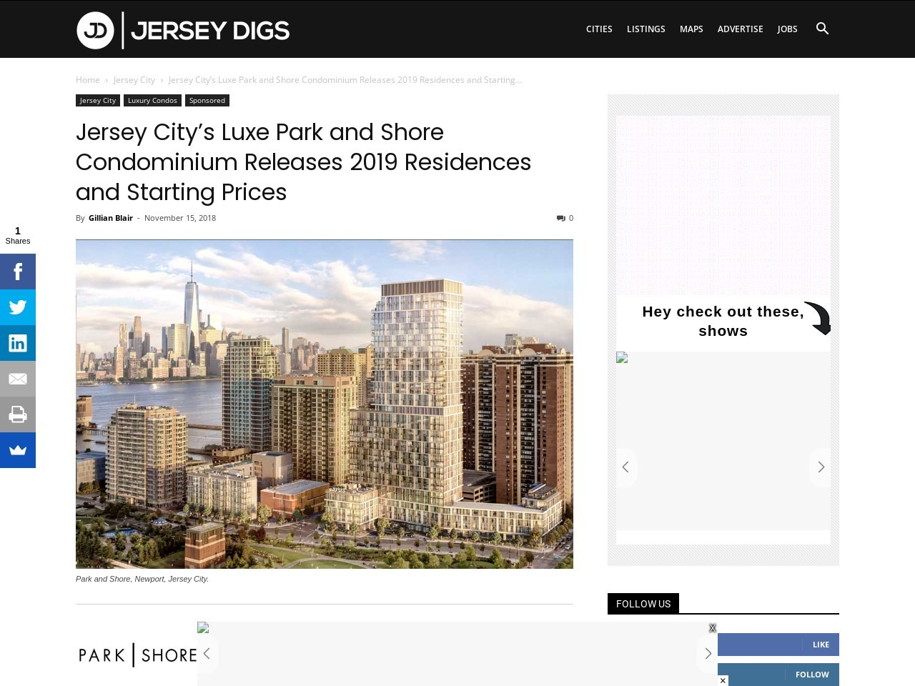 Jersey City's Luxe Park and Shore Condominium Releases 2019 Residences and Starting Prices