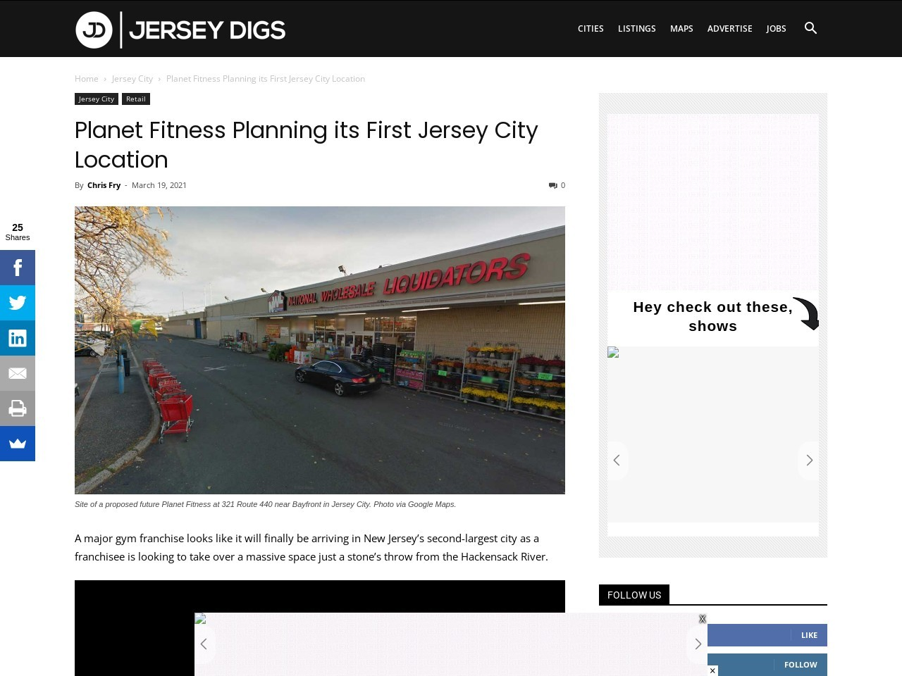 Planet Fitness Planning its First Jersey City Location
