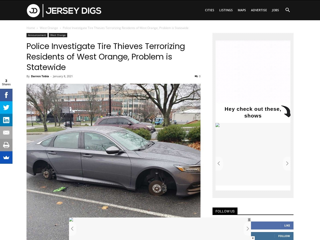 Police Investigate Tire Thieves Terrorizing Residents of West Orange, Problem is Statewide