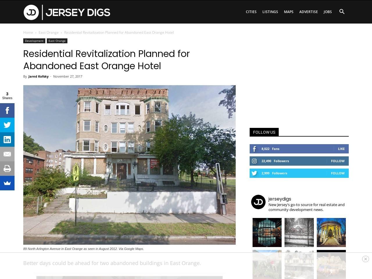 Residential Revitalization Planned for Abandoned East Orange Hotel