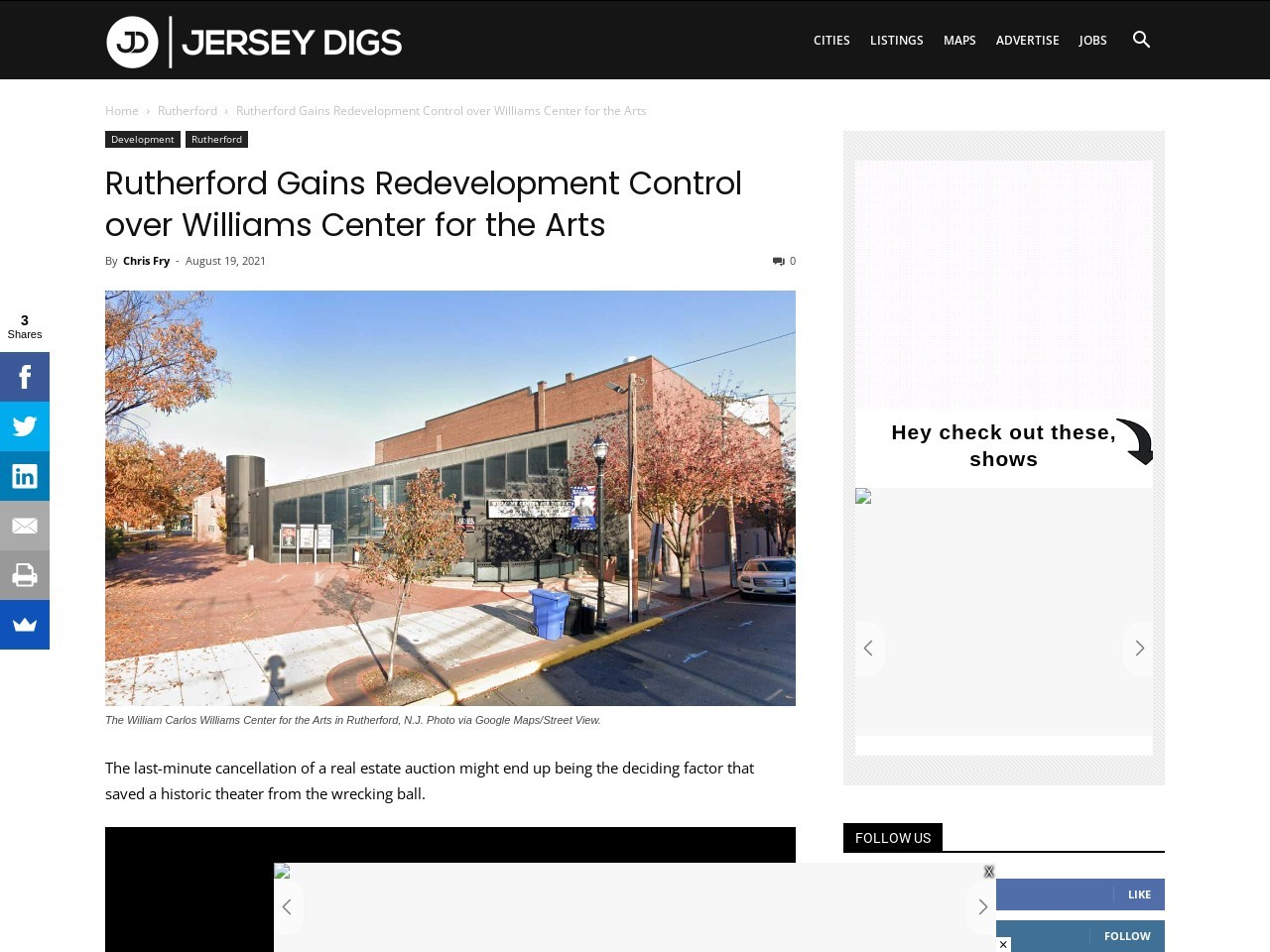 Rutherford Gains Redevelopment Control over Williams Center for the Arts