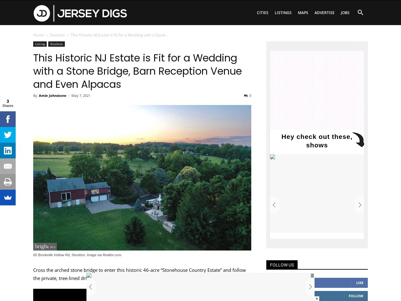 This Historic NJ Estate is Fit for a Wedding with a Stone Bridge, Barn Reception Venue and Even Alpacas