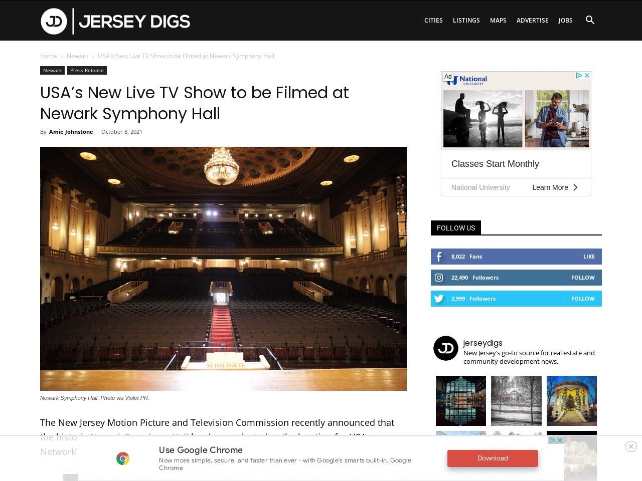 USA's New Live TV Show to be Filmed at Newark Symphony Hall