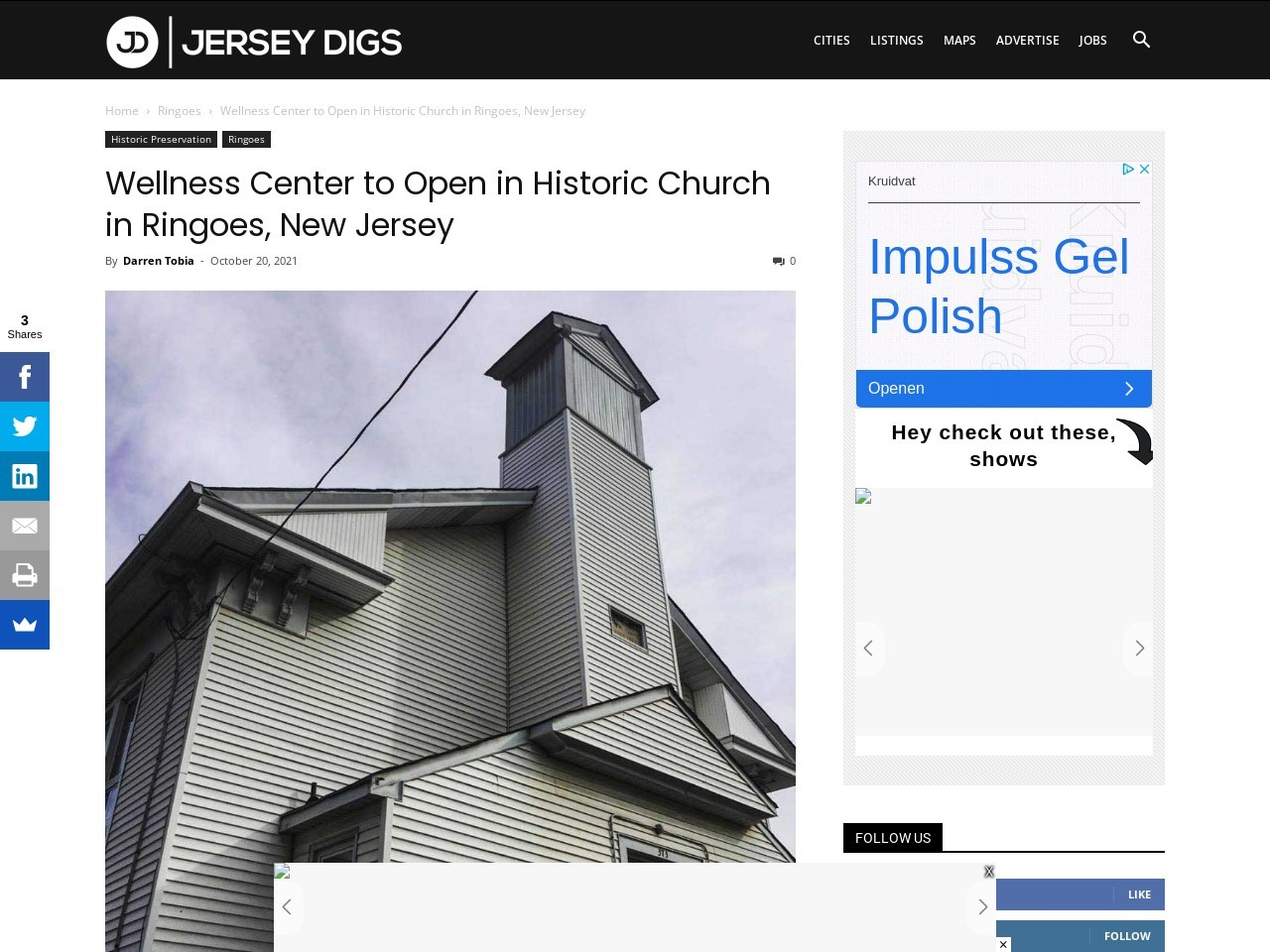 Wellness Center to Open in Historic Church in Ringoes, New Jersey