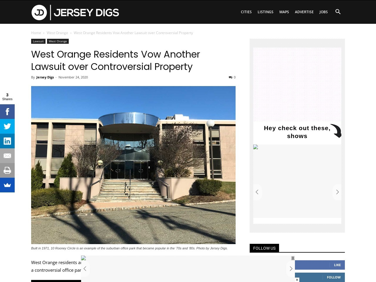 West Orange Residents Vow Another Lawsuit over Controversial Property