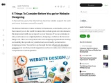 6 Things To Consider Before You go for Website Designing