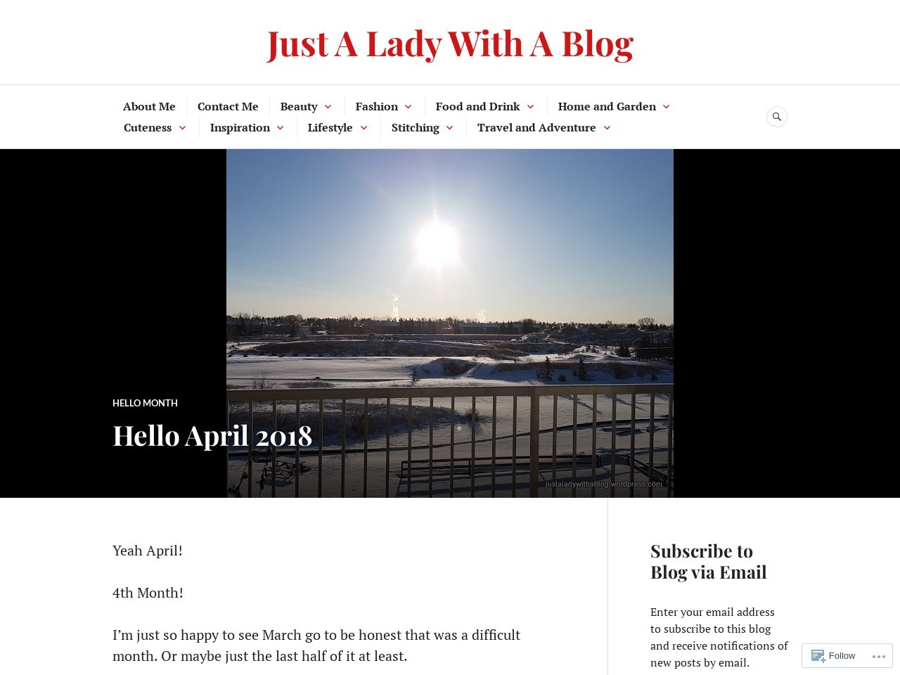 Hello April 2018 – Just A Lady With A Blog