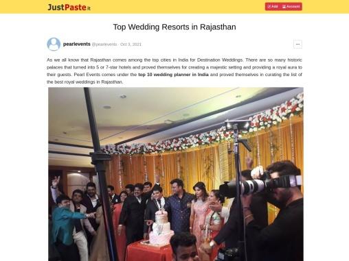 Top Wedding Resorts in Rajasthan