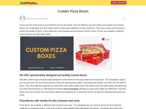 You Can Get Custom pizza boxes at suitable price in USA