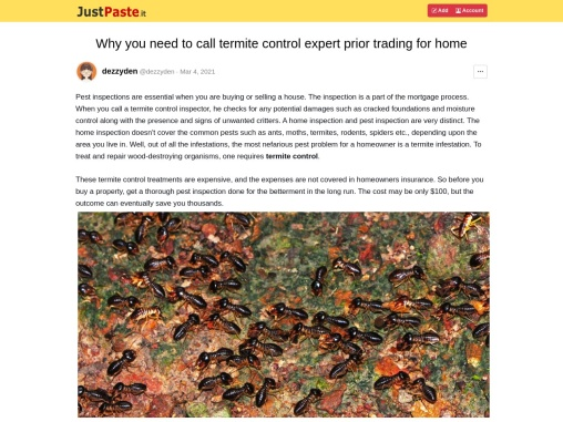 Why you need to call termite control expert prior trading for home