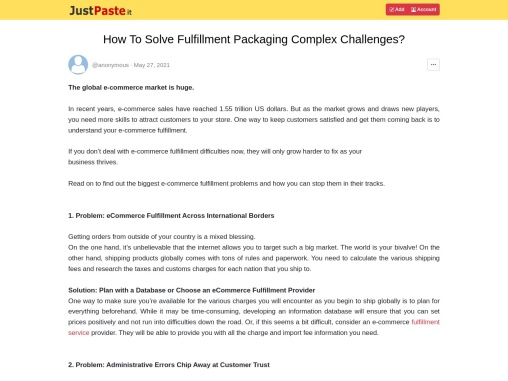 How To Solve Fulfillment Packaging Complex Challenges?