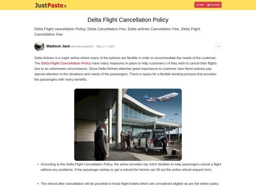 Delta Flight Cancellation Policy